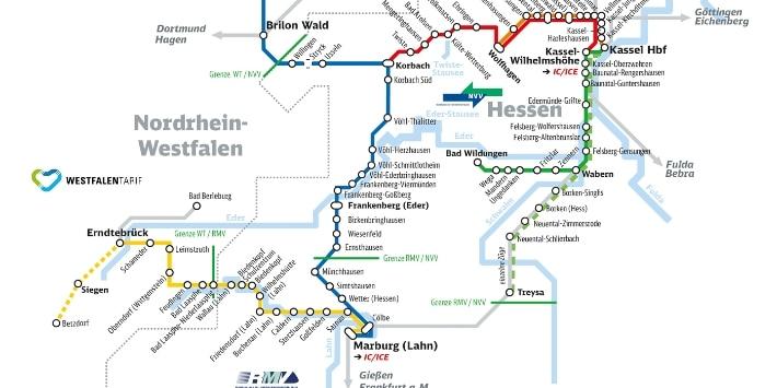 Streckennetz Kurhessenbahn