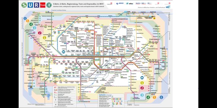 MVV-Tarif Zonen Kartenausschnitt