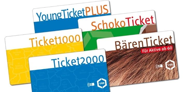 Die 5 Karten für die Abos YoungTicketPLUS, Ticket1000, SchokoTicket, Ticket2000, BärenTicket