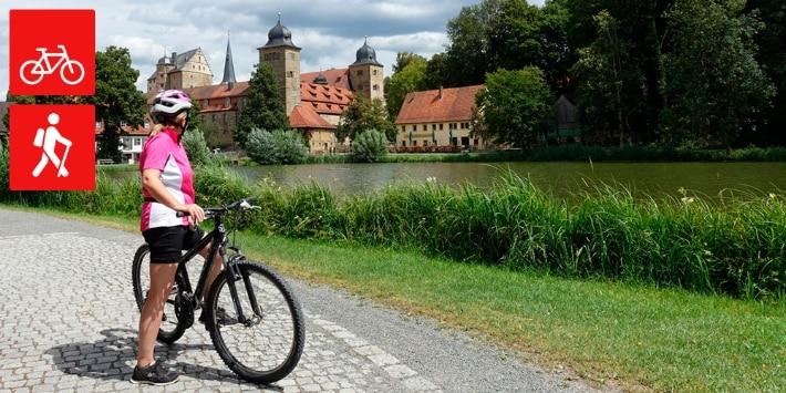 Fahrradfahrerin im Fränkischen