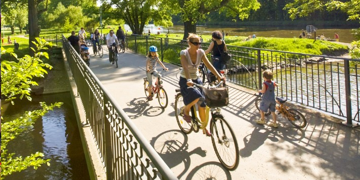 Fahrradfahrer Saale