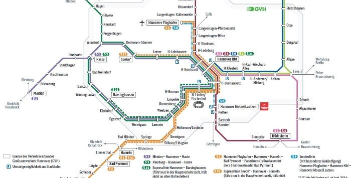 Liniennetz der S-Bahn Hannover