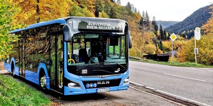 BRN-Bus am Straßenrand im Herbst