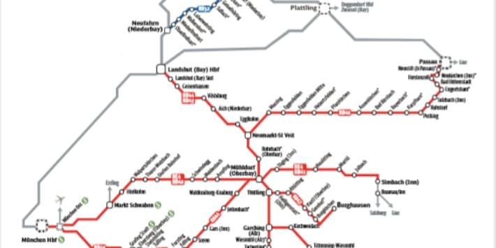 Streckennetz der Südostbayernbahn