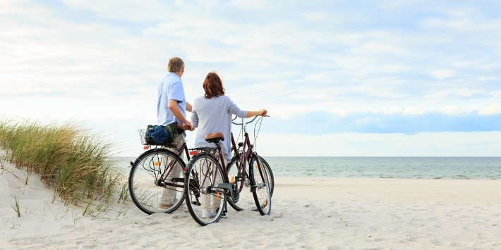 Mature couple outdoors on the beach