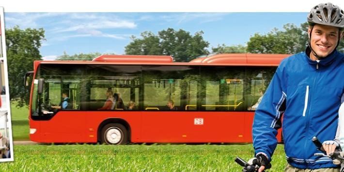 Radfahrer vor Fahrradbus