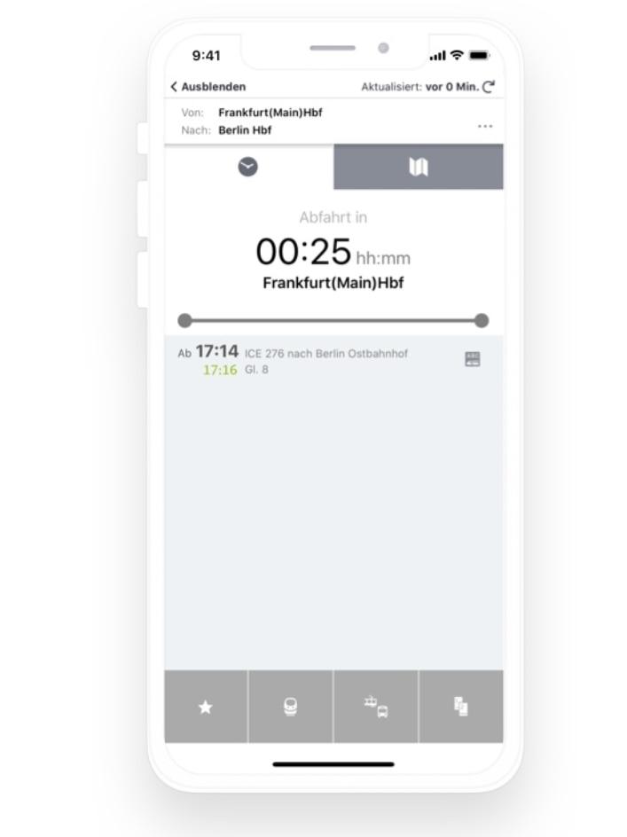 Handyscreen Meine Reise im DB Navigator
