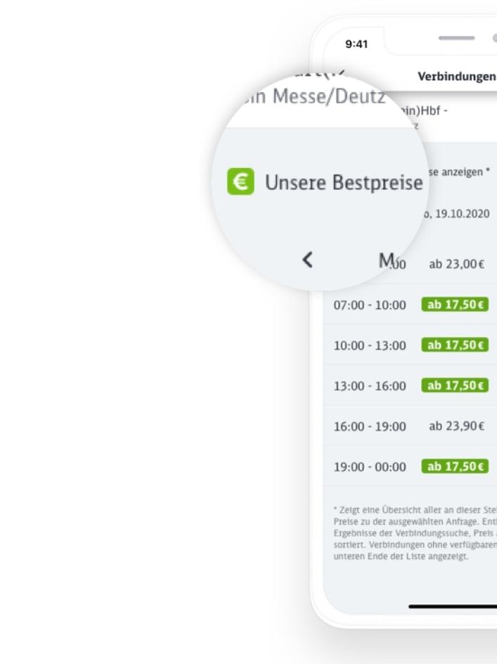 Handyscreen Bestpreis im DB Navigator