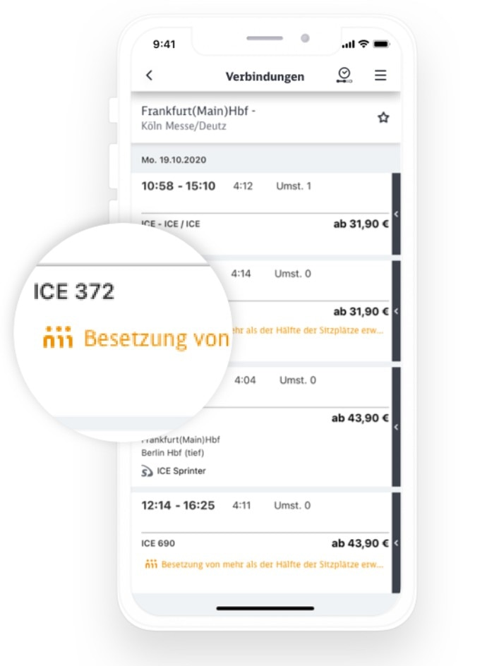 DB Navigator Funktion: Auslastungsanzeige