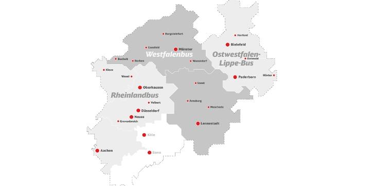 Übersichtskarte der Busgesellschaften in NRW