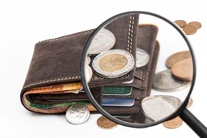 Lupe über Geldbeutel