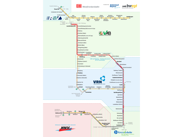 Westfrankenbahn-Streckennetz mit Verbundübersicht