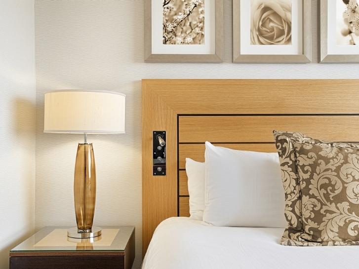 Interior design detail of a luxury hotel room