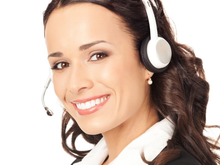 happy smiling cheerful customer support phone operator