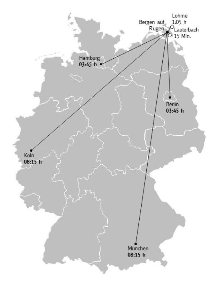 Karte Anreise Rügen