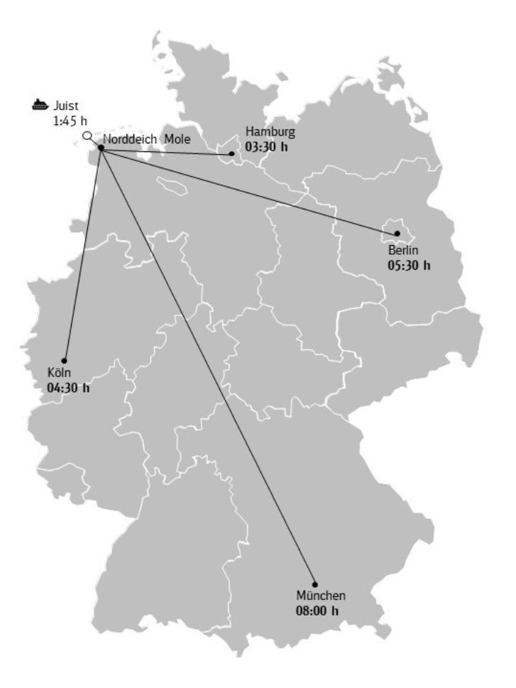 Karte Anreise Wattenmeer Niedersachsen