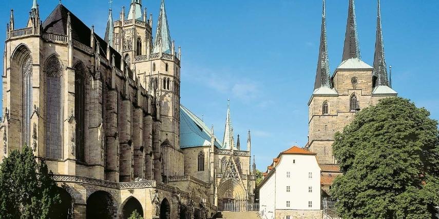Mariendom und St. Severi in Erfurt bei Tag