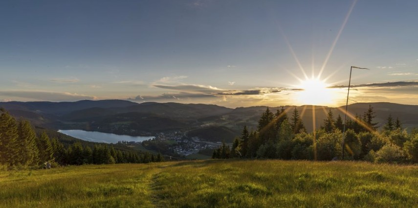 sunset at Hochfirst with view at Titisee