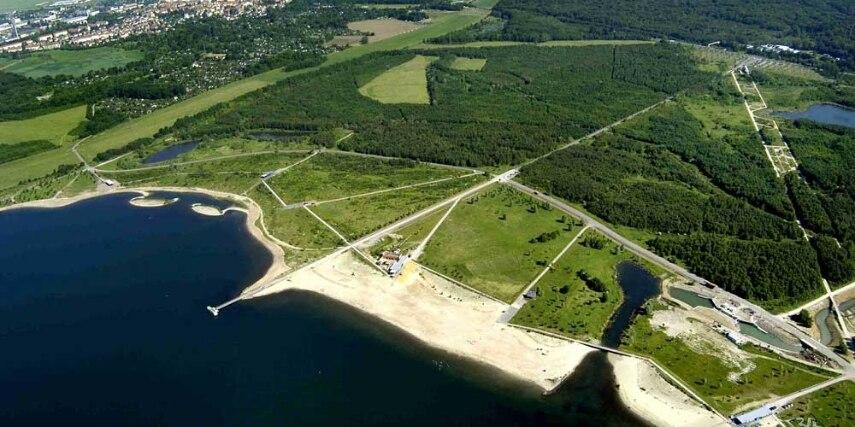 Nordstrand, Cospudener See aus der Luft