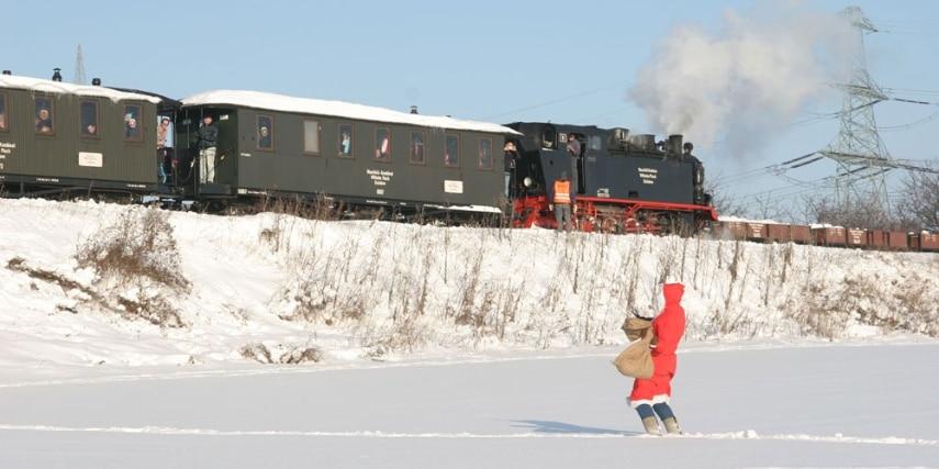 Nikolaus bei der Mansfelder Bergwerksbahn