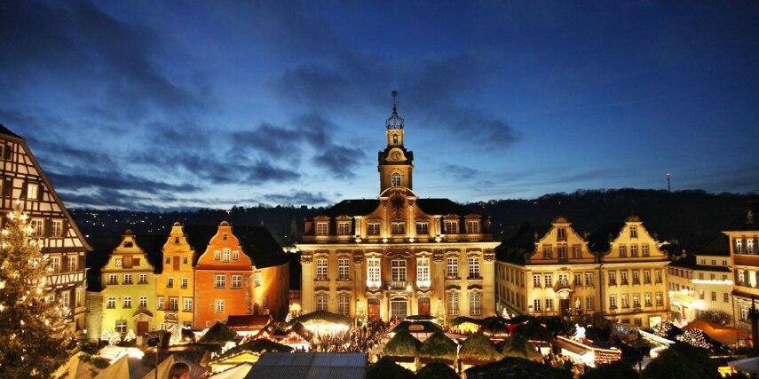 Panorama Weihnachtsmarkt Schwäbisch Hall