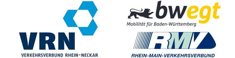 Logos der Aufgabenträger VRN, RMV, Baden Württemberg