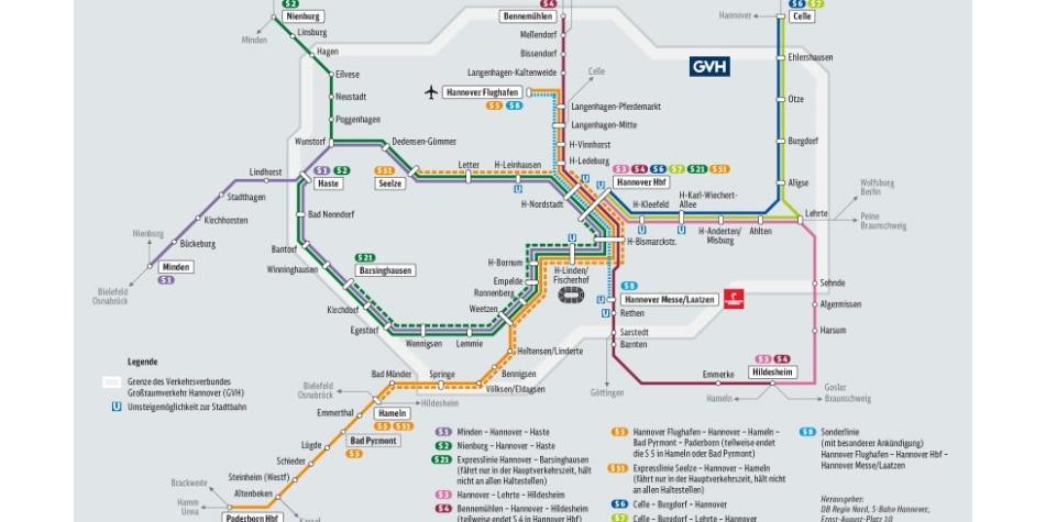 Liniennetz S-Bahn Hannover