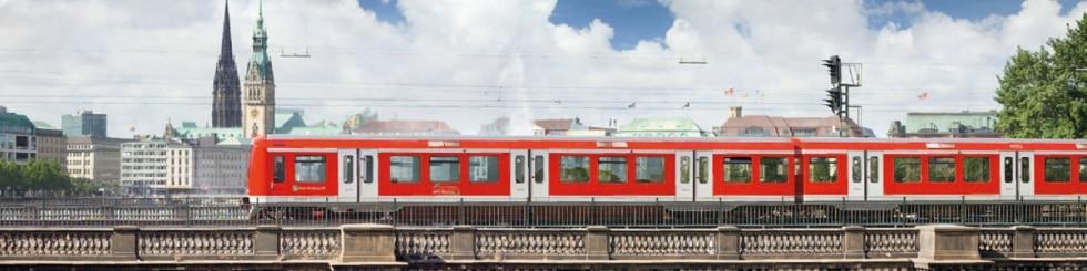 S-Bahn train on a bridge
