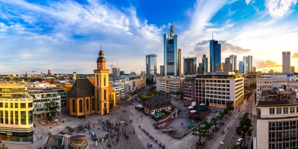 financial district in Frankfurt, Germany in a summer day
