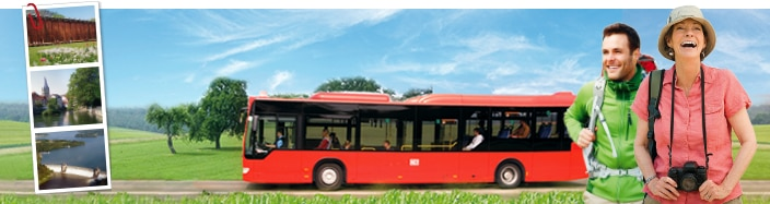 Collage von Wanderern, DB Regio Bus und Polaroidbildern