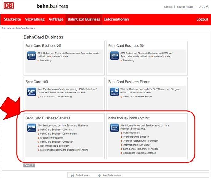 Screenshot: BahnCard Business-Services