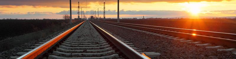 Rail network at dusk