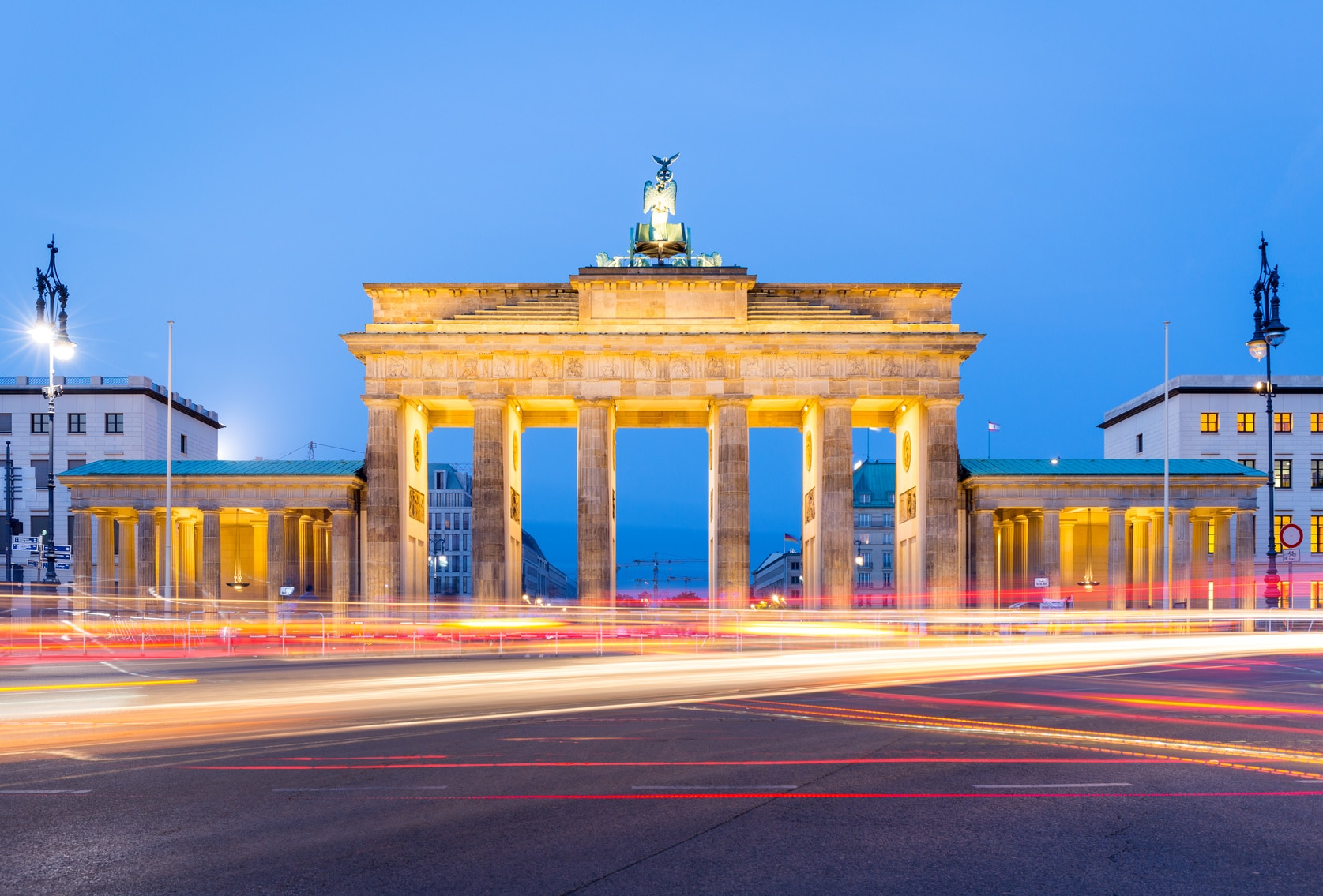 La Porte de Brandebourg à Berlin le soir