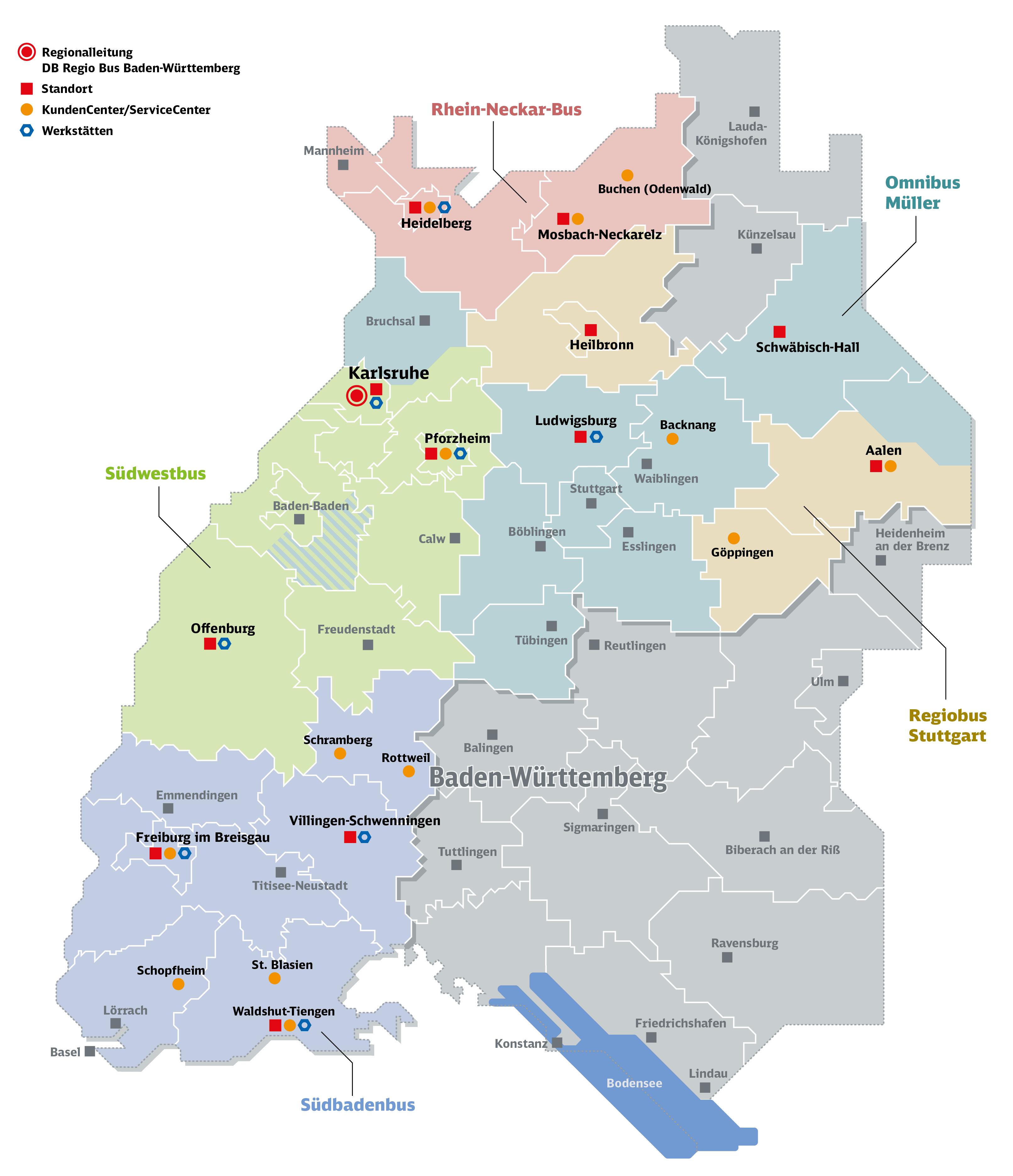 Übersichtskarte der Regionender einzelnen Busgesellschaften der DB Regiobus Baden-Württemberg