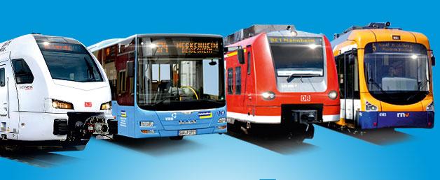 versciedene Busse und Bahnen