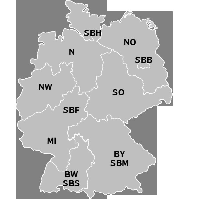 Karte DB Regio Schiene Regionen