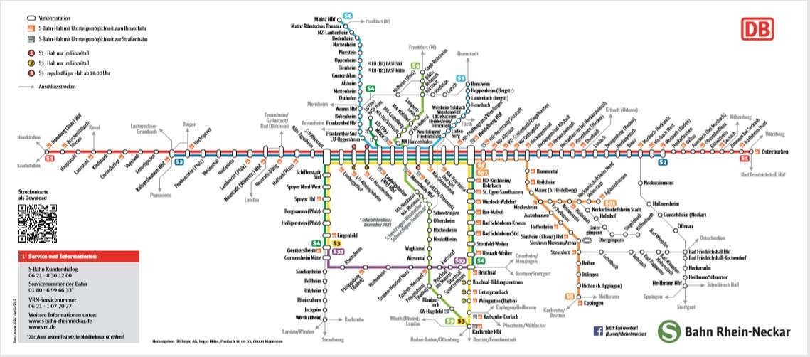 Streckenkarte S-Bahn Rhein-Neckar